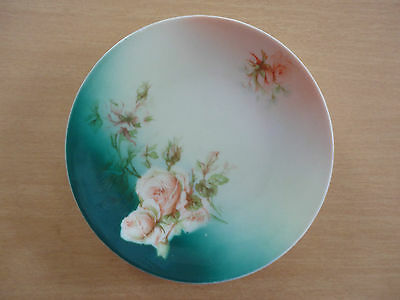 """Vintage Silesia Porcelain Plate 6 1/4"""" Across Tourquoise & Pink Floral Pattern"""