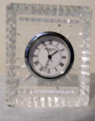 Waterford Crystal Small Desk Clock w/ New Battery MINT