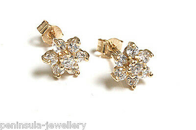 9ct Gold CZ Cluster stud Earrings Gift Boxed Made in UK