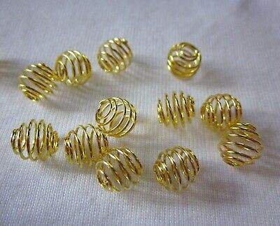 20 Gold Coloured 8mm x 8mm Bead Cages #0285 Jewellery Making Beading Findings