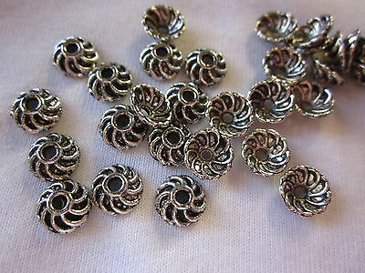30 Antique Silver Coloured 9x4mm Swirly Bead Caps #bc287