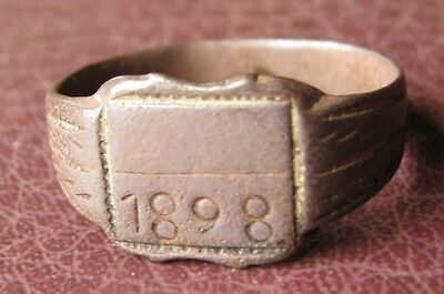 Antique Bronze RING   dated 1898  Sz: 10 1/2 US 20.25mm 11437