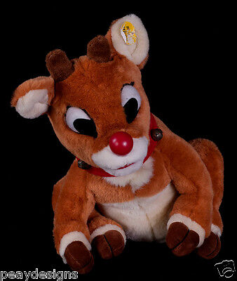 Vtg Gemmy Rudolph Red Nosed Reindeer Singing Animated Christmas Plush SEE VIDEO