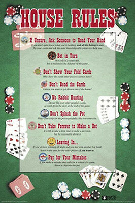 POKER - HOUSE RULES POSTER - 24x36 - CARD GAME 4222