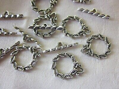 10 Antique Silver 18x15mm Wreath Toggle Clasps #126 Combine Post-See Listing