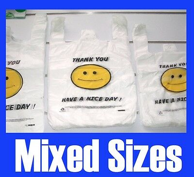 400x Singlet Plastic Carry Shopping Bags Smiling Smile Smiley Face Mixed sizes
