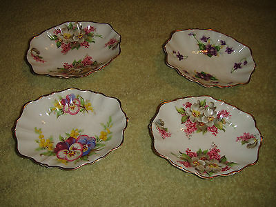Superb Duchess Bone China England Soap Jewelry Dish Set Of 4 Floral Scalloped