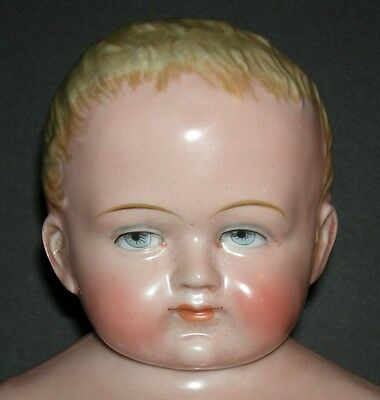 """FROZEN CHARLOTTE - 15"""" - RARE!! - ALL PINK TINT w/ BLONDE MOLDED HAIR - Germany"""