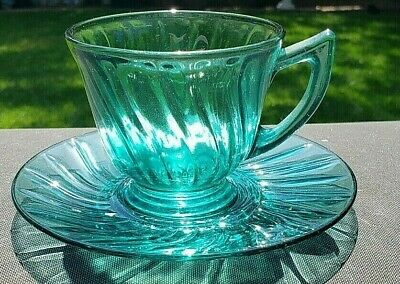 Teal - Ultramarine SWIRL CUP AND SAUCER SET