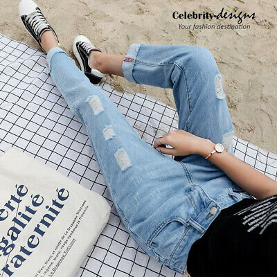 Ladies Ripped Boyfriend Style Jeans Distressed Jeans Size 8 10 12 14 16 (jn7V2)