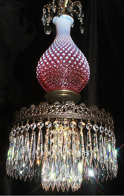 1of2 Fenton hanging SWAG Cranberry art Glass Crystal Lamp Chandelier Vintage