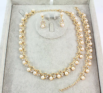 Ladies White Pearl Style Gold Silver Plated Necklace Earrings Bracelet Jewelry