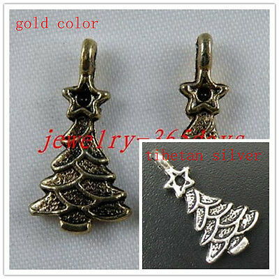 40pcs Silver,Gold Color Christmas tree Charms 21x11mm D126 D127
