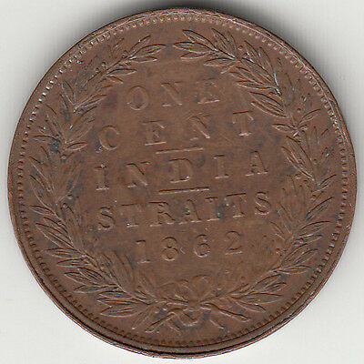 Coin 1862 Straits Settlements Malaysia 1 cent India Straits Queen Victoria