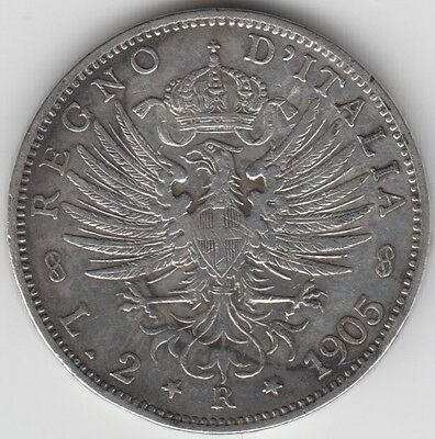 Coin 1905R Italy silver 2 lire issue in fine condition
