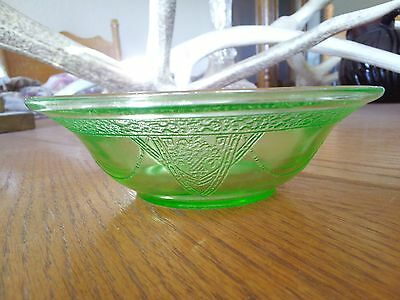 Georgian Lovebirds Federal Green Depression Glass Cereal Bowl