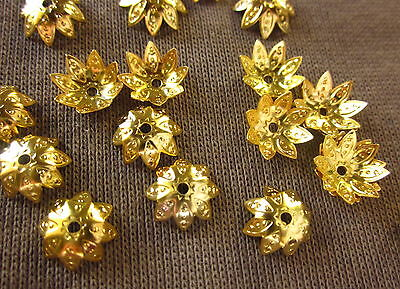 50 Gold Coloured 10x4mm Flower Bead Caps #bc278 Combine Post-See Listing