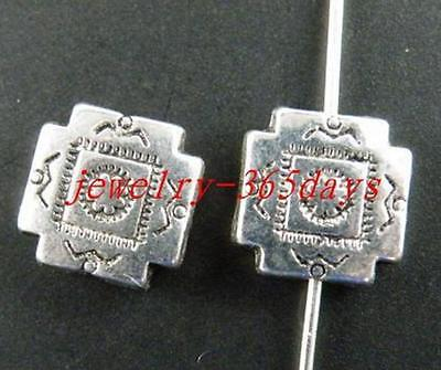 50pcs Tibetan Silver Flower Square Spacers 10x10mm 10596
