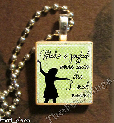 Christian Scripture Recycled Scrabble Tile Pendant Charm Religious Psalms 98:4 Y