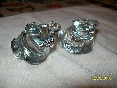 2 Clear Art Glass Frog Figurines,paperweights 3 1/2 X 3 X 2 1/2""