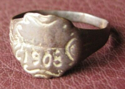 Antique Artifact   Bronze RING   dated 1908  Sz: 9 US 19mm 11426
