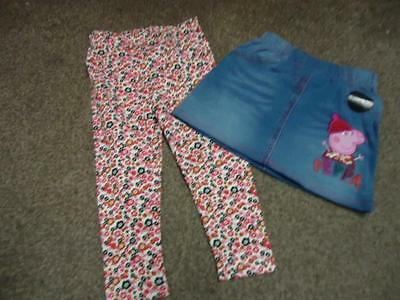 BNWT Peppa Pig girls pretty denim look skirt and floral leggings 2 piece set