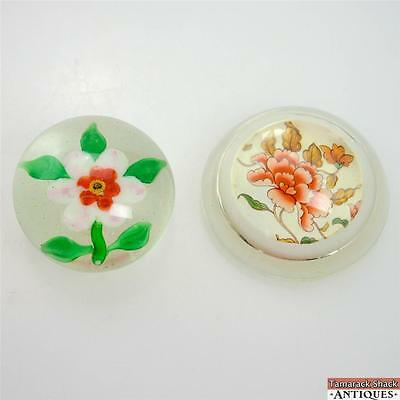 Lot of Two Vintage Orange White Flower Glass Paperweights Green Leaves Flat Base