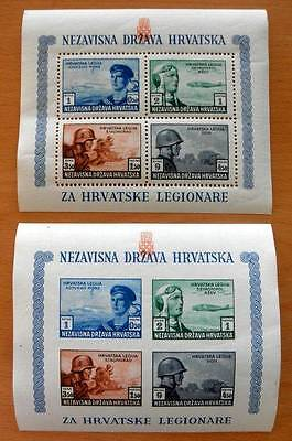 Croatia 1943 - 2 Souvenir Stamp Sheets Perf & Imp Legion Army, Navy And Airforce