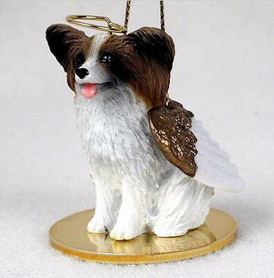 PAPILLON (BROWN WHITE) ANGEL DOG CHRISTMAS ORNAMENT HOLIDAY Figurine Statue