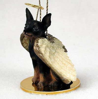 MIN PIN MINIATURE PINSCHER (BLACK) ANGEL DOG CHRISTMAS ORNAMENT HOLIDAY Figurine