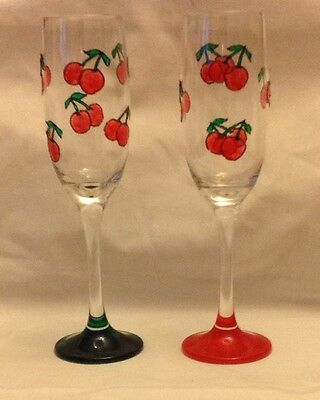 Hand Painted Cherry Design On A Champagne Glass*Personalised*Gift*Vintage