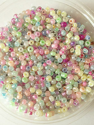 50g glass seed beads - Mixed Ceylon - approx 3mm (size 8/0) pastel colour mix