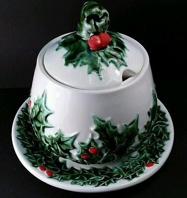 VINTAGE LEFTON HOLLY BERRY CHRISTMAS XMAS SUGAR BOWL LID 605 MUSTARD JAM