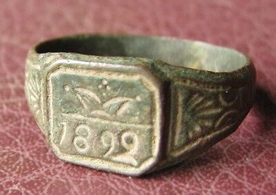 Antique Artifact   Bronze RING   dated 1899  Sz: 10 1/2 US 20.25mm 11438