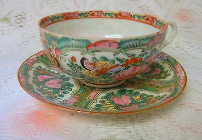 CHINESE FAMILLE ROSE Hand Painted CUP AND SAUCER  21st CENTURY