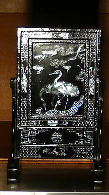 Antique Chinese Lac Burgaute Mop Inlaid Birds,Crains And Pine Trees Table Screen