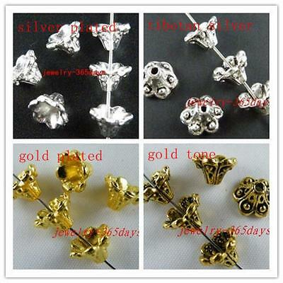 60/200 Silver/Gold Tone Flower-Dot End Bead Caps 9x6mm 1059