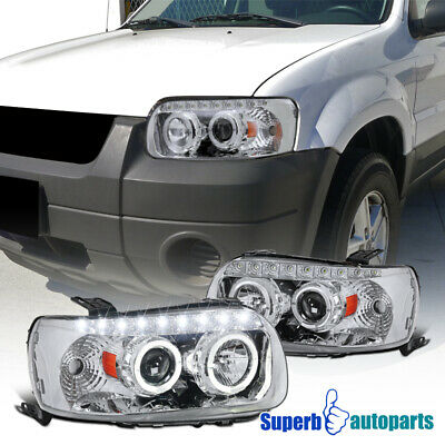 2005-2007 Ford Escape Chrome Dual Halo Projector SMD LED Headlights Clear
