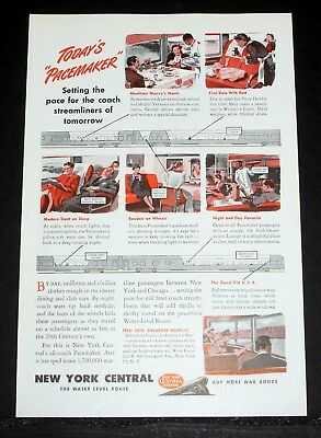 1945 OLD WWII MAGAZINE PRINT AD, NEW YORK CENTRAL, DYNAMOMETER TESTING CAR ART!