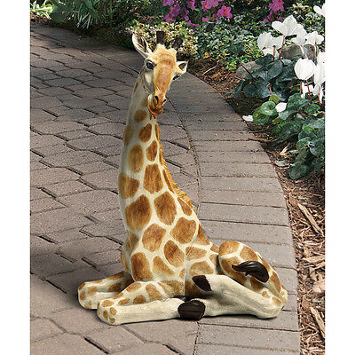 African Plains Exotic Beauty Safari Hand Painted Giraffe Garden Yard Statue