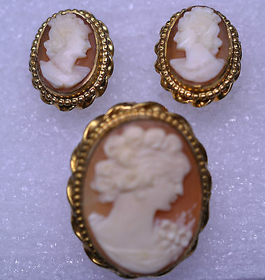 Vtg Gold Filled Shell Cameo Set Pin Or Pendant & Screw Earrings With Twist Frame