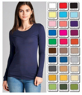 T SHIRT CREW Long Sleeve Active Basic STRETCH Top *WHIMSY* S/M/L Misses/Plus