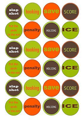24 Ice Hockey Iced Cupcake Topper Fairy Cake Toppers Edible