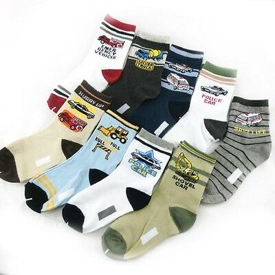 Baby Kids Boys Children Car Style Socks Age 4 - 8 Years 10 Designs Lot