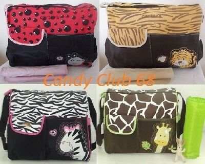 UK Baby Nappy Waterproof Changing Messenger Bag Zebra/Giraffe/Tiger Patterns