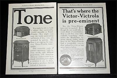 1911 Old Magazine Print Ad, Victor-Victrola Phonographs For Pre-Eminent Tone!
