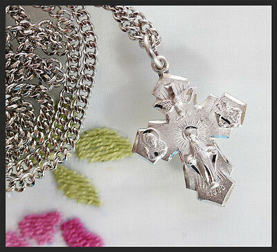 """Bliss Sterling Silver 4-Way Cross on 24"""" Stainless Heavy Curb Chain"""