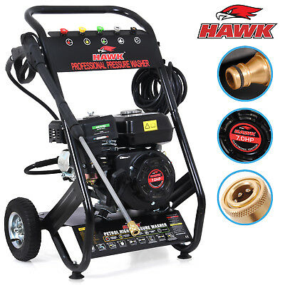 HAWK TOOLS 196cc 200 BAR 3000PSI 7HP PETROL POWER CLEANER PRESSURE JET WASHER