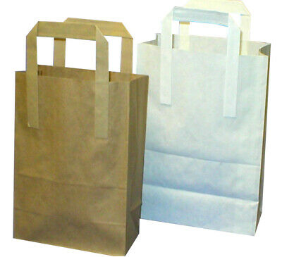 Brown And White Paper Carrier Bags Ideal For Takeaways, Partys, Packed Lunches