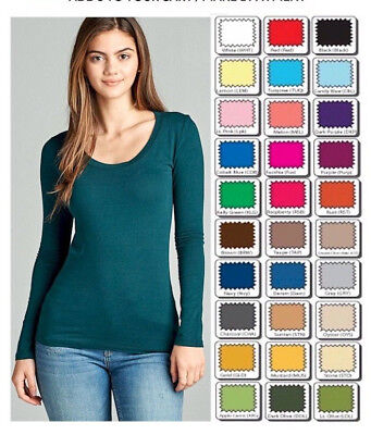 T SHIRT SCOOP Long Sleeve Active Basic STRETCH Top S/M/L/XL-1X USA Free Ship